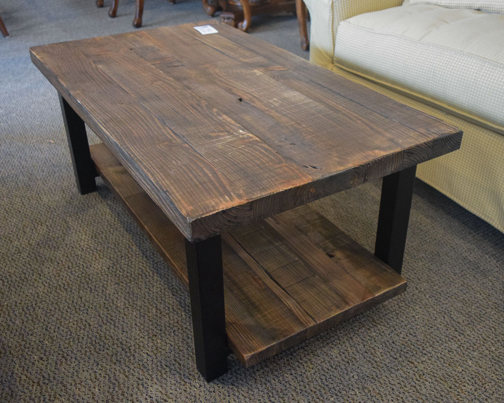 Wood metal rustic coffee table new england home furniture consignment Rustic wood and metal coffee table