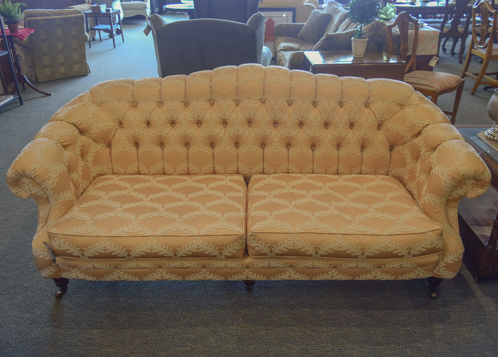 Tufted Victorian Damask Sofa