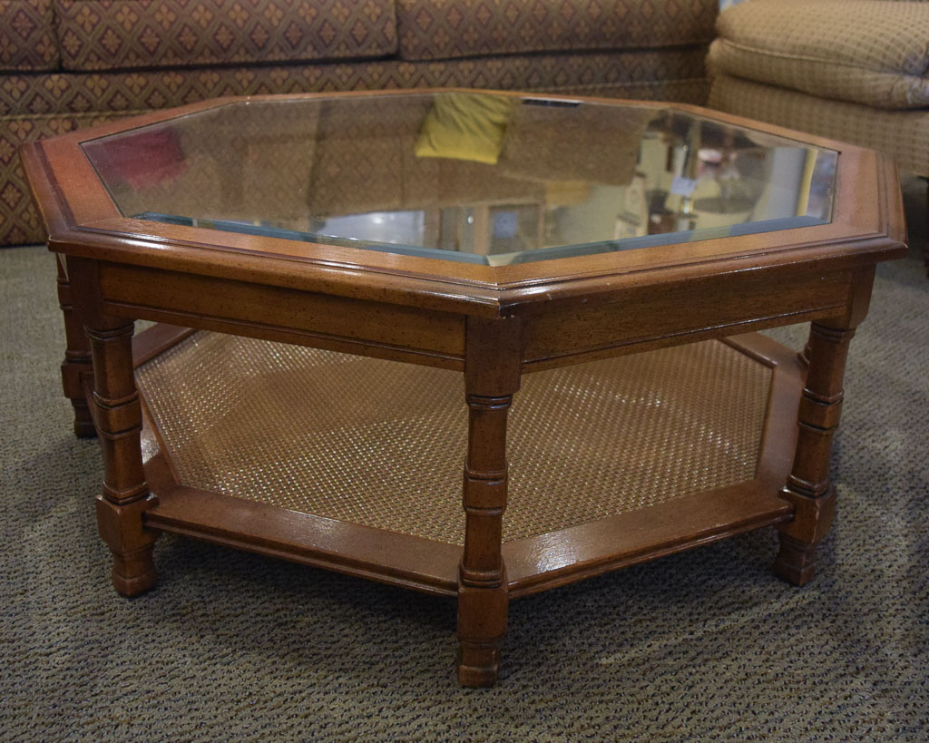 Octagon glass top coffee table new england home for Octagon coffee table