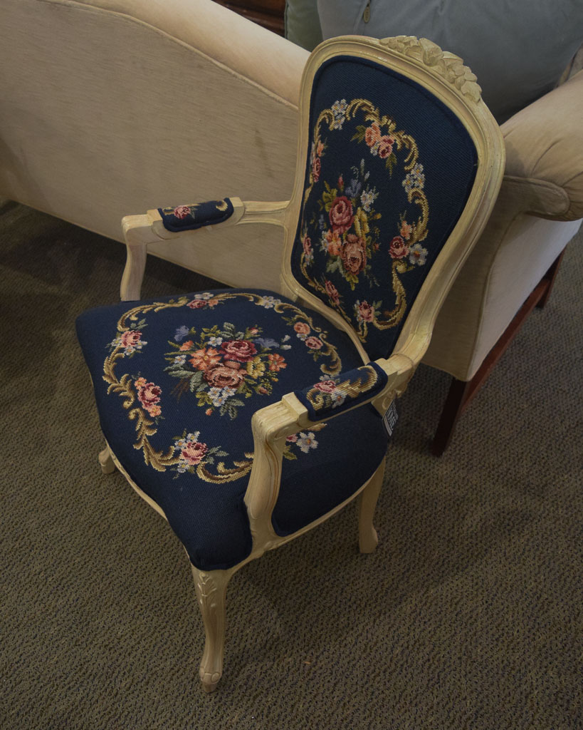 Blue Embroidered Accent Chair