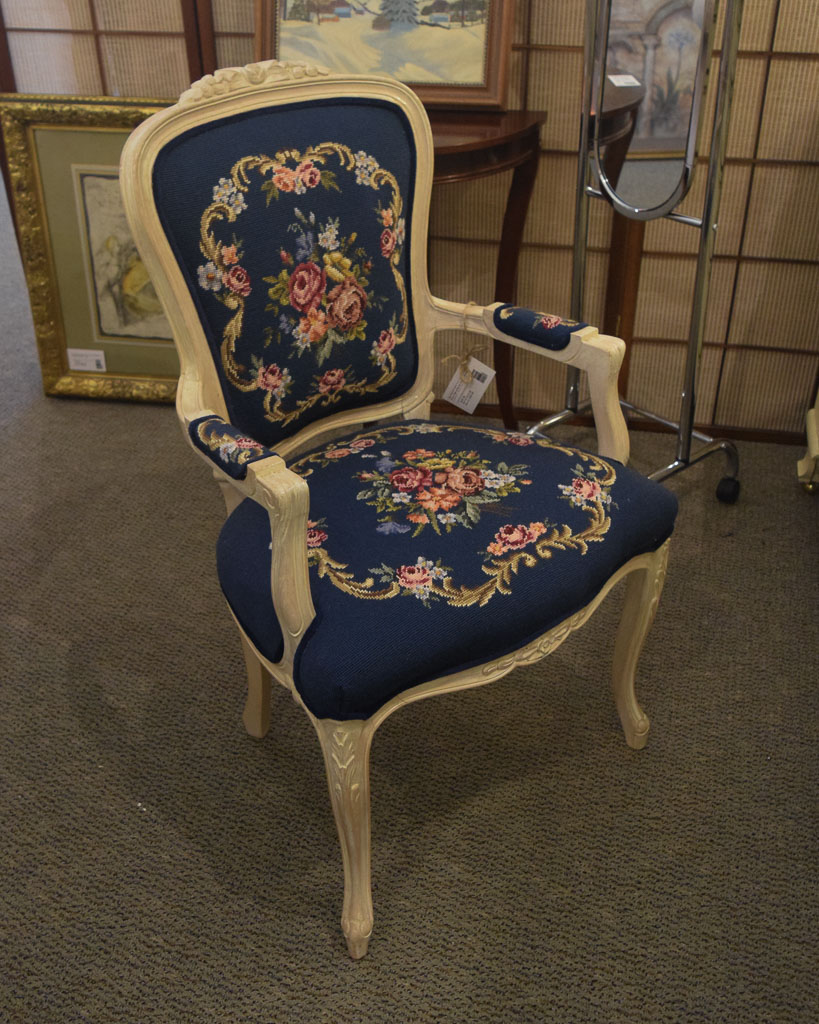 Blue Embroidered Accent Chair New England Home Furniture