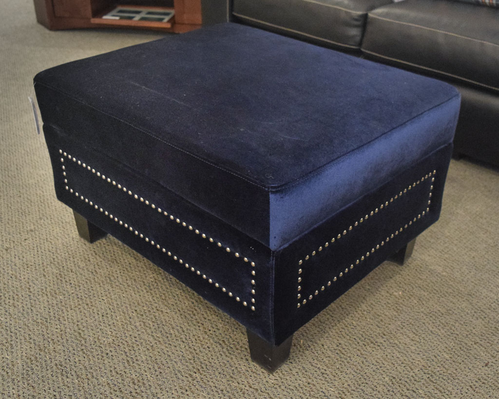 Blue Studded Storage Ottoman