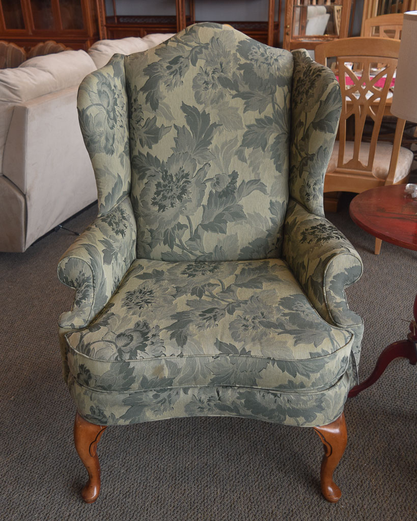 Green Floral Wingback Chair