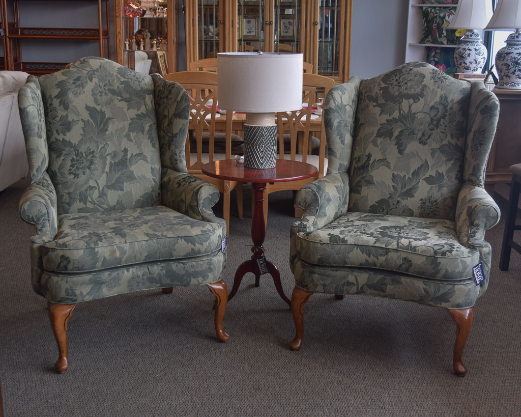 Green Floral Wingback Chair New England Home Furniture